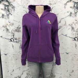 Adidas Zip Up Striped Hood Hoodie Sweater Purple